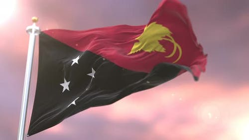 Flag of Papua New Guinea at Sunset