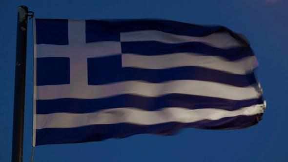 Thumbnail for Greek Flag Fluttering Against Evening Sky