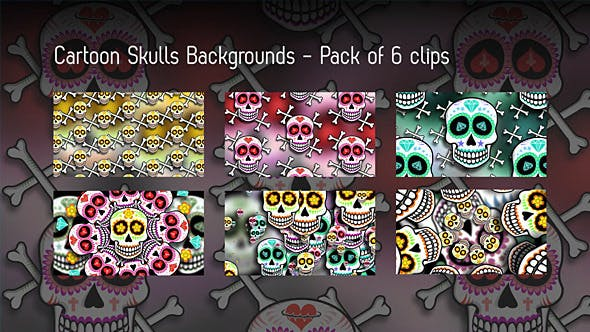 Thumbnail for Cartoon Skulls Backgrounds - 6 Clips