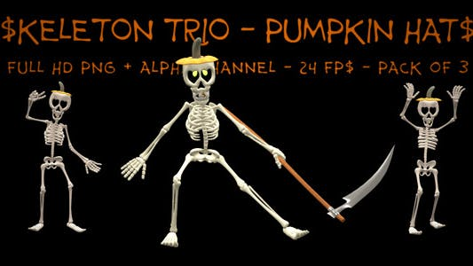 Dancing Skeleton Trio - Pumpkin Hats - Pack of 3