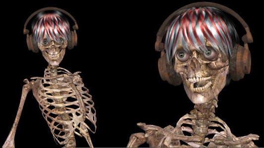 Female Skeleton Dancing In Headphones