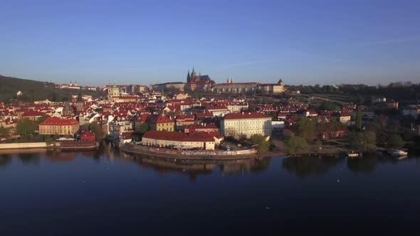 Thumbnail for Aerial Shot of Prague on Vltava River Bank, Czech Republic