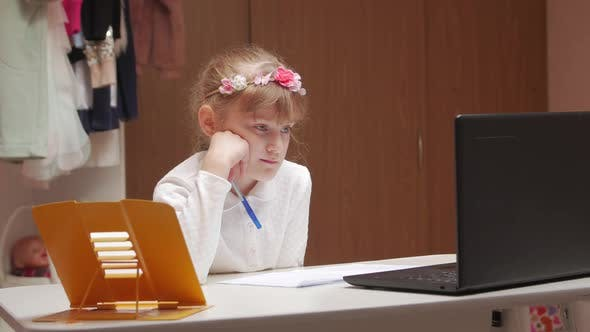 Girl In An Online Lesson