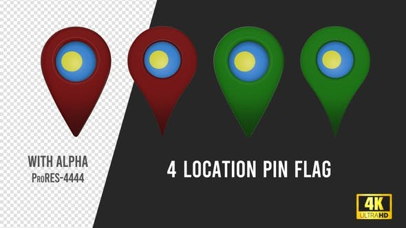 Palau Flag Location Pins Red And Green