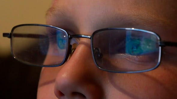 Thumbnail for Computer Screen Reflected In Glasses