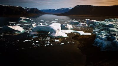 Ice Icebergs in Greenland at Summer