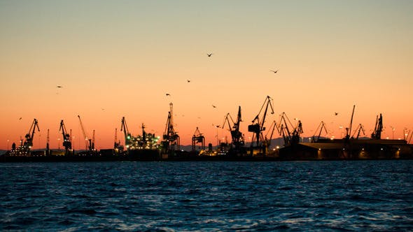 Thumbnail for Dock With Cranes In The Evening