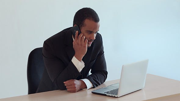 Cover Image for Businessman Talks on Phone and Works on Laptop
