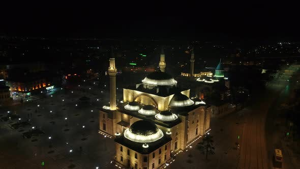 Thumbnail for Konya Mevlana Mosque Complex Night Aerial View 6