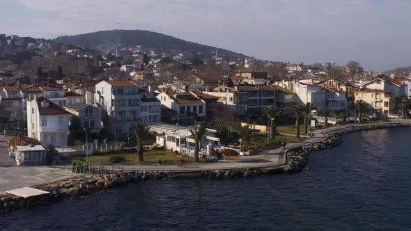 Thumbnail for Istanbul Prince Islands Following Biker Man Aerial View