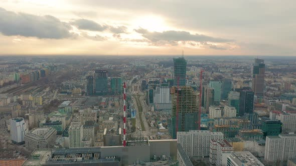 Thumbnail for Aerial View of Warsaw Dawntown, Palace of Culture, Poland
