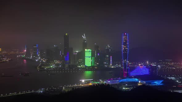 Thumbnail for Zhuhai of Guangdong Near Macau in China at Night Timelapse