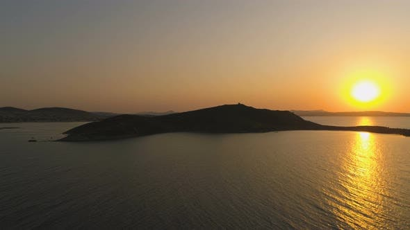 Thumbnail for Aerial View of Sunset Above Island in Greece