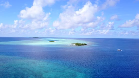 Thumbnail for Natural flying abstract view of a white sandy paradise beach and blue ocean background