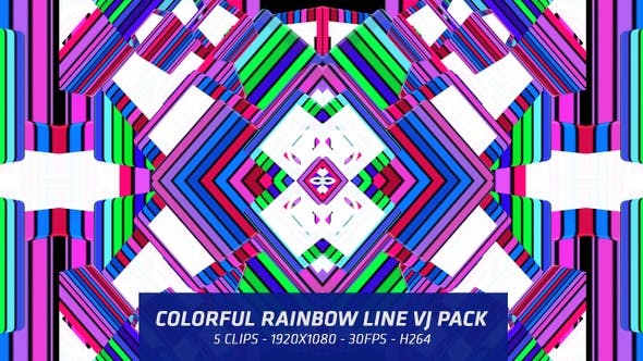 Thumbnail for Colorful Rainbow Line Vj Pack