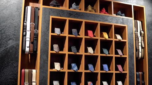 Showcase with Ties in Luxury Boutique of Men's Clothing and Suits