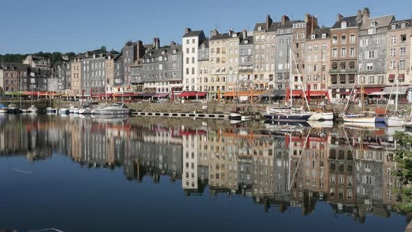 HONFLEUR, FRANCE - SEPTEMBER 2016  Famous northern Normandy artistic place and port by the day with