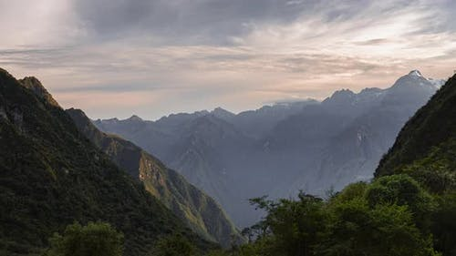 Inca Trail landscape timelapse of Andes Mountains in Peru. Time lapse at sunset of clouds moving on