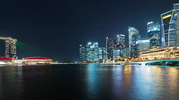 Thumbnail for Singapore | Pan of the Skyline at Night
