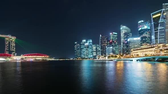 Thumbnail for Singapur | Pan of the Skyline bei Nacht