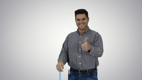 Floor care and cleaning services Casual man cleaning the