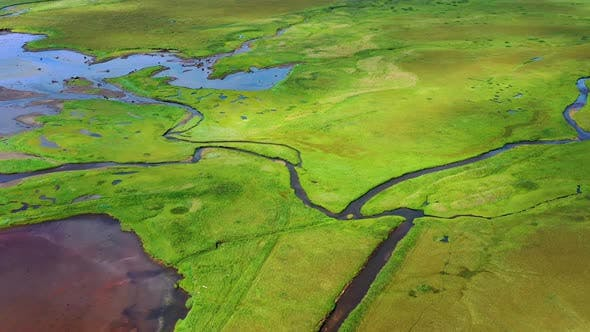 Thumbnail for Iceland. Aerial View on The Mountain, Field and River.