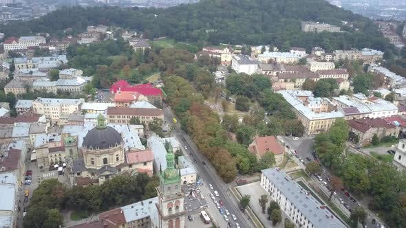 Thumbnail for Beautiful Top View of the Assumption and Dominican Cathedral in the City Center. Shooting of Lviv