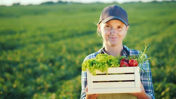Thumbnail for Cheerful Woman Farmer with a Box of Vegetables Stands on the Background of the Field