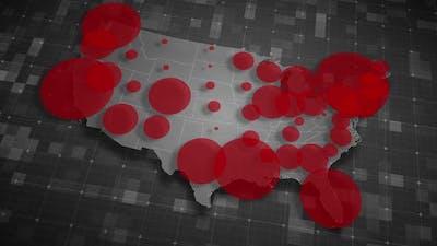 COVID19 Coronavirus Epidemic - USA Population Map 03 - HD