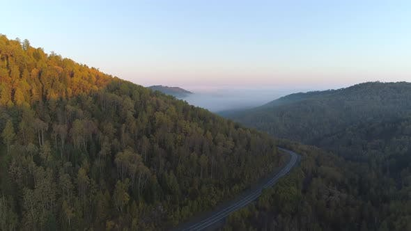 Thumbnail for Arial Landscape on autumn forest in Siberian Mountains