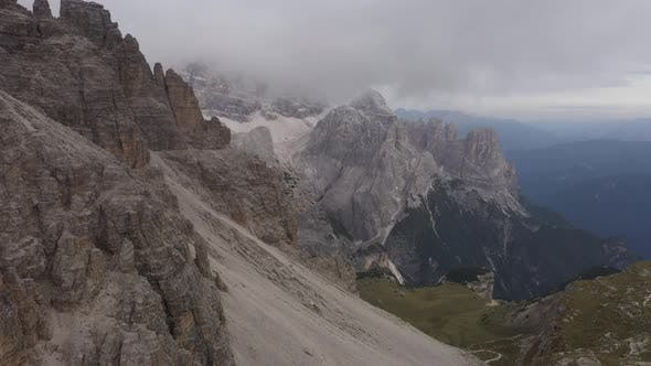 Fly Over Famous Italian Park Tre Cime Di Lavaredo