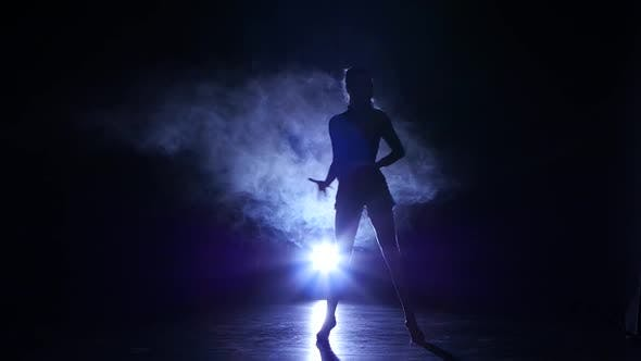 Thumbnail for Girl Dancing Movements of Salsa, Rumba, Silhouette. Dark Background, Blue Backlight
