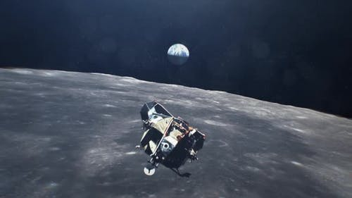 Apollo Moving Over Moon With Earth in the Back Ground
