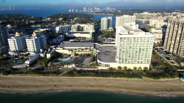 Aerial footage of Miami Beach during golden hour