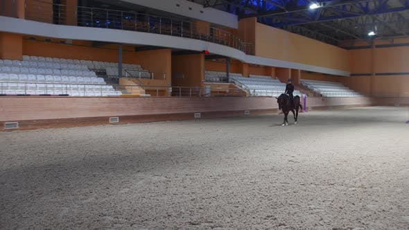Equestrian Sports  a Woman in Black Clothes Galloping on the Empty Hippodrome Field in Circles