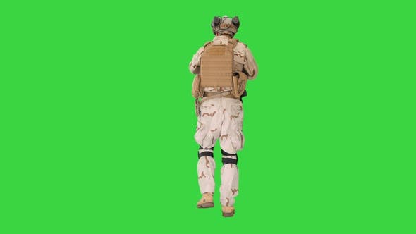 Thumbnail for Armed Man Camouflage Assault Rifle Looking Target Green Screen Chroma Key