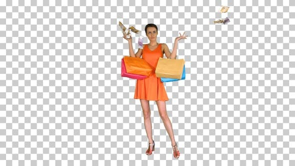 Thumbnail for Beautiful woman holding shopping bags, Alpha Channel