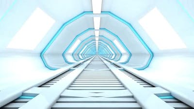 3D rendered Animation of a journey through a spaceship corridor