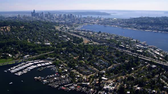 Thumbnail for Amazing Waterfront City Aerial Over Seattle In Summer Season