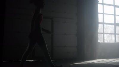 Sportswoman Walking in Sport Club