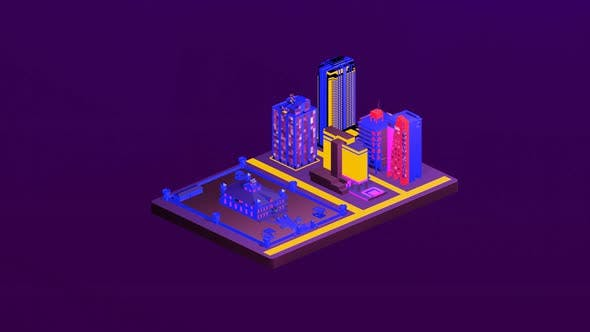 Isometric castle in the middle of the city