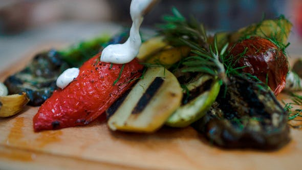 Thumbnail for Sauce Topping On Grilled Vegetables
