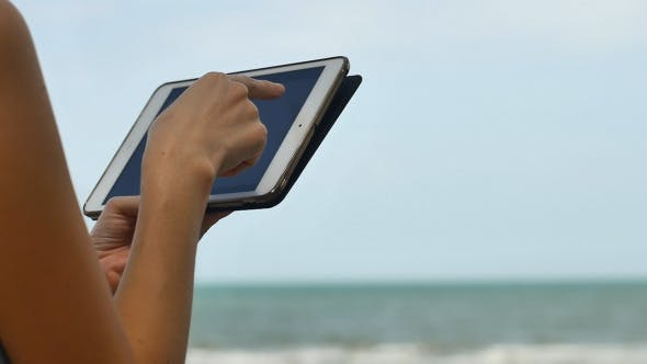 Thumbnail for Woman With Tablet On The Vacation