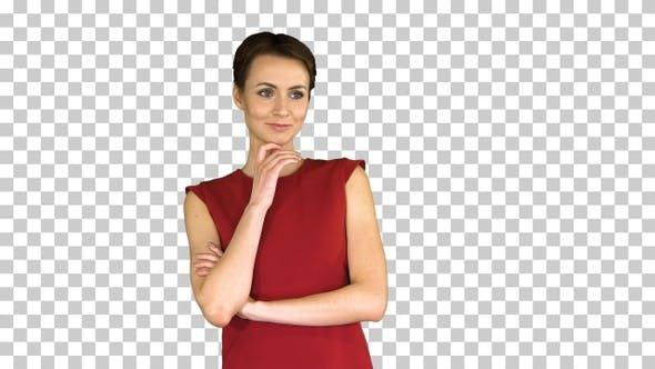Thumbnail for Model with short hair thinking, Alpha Channel