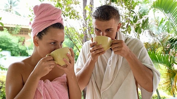 Thumbnail for Couple Drinking Coffee after Shower