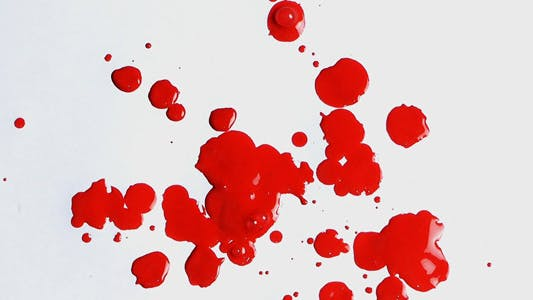 Thumbnail for Red Ink Drops Splash on White Background