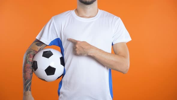 Thumbnail for Man in Blank Football Shirts Pointing Advertise