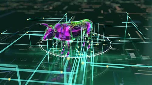 Abstract art of a bull run on the blockchain