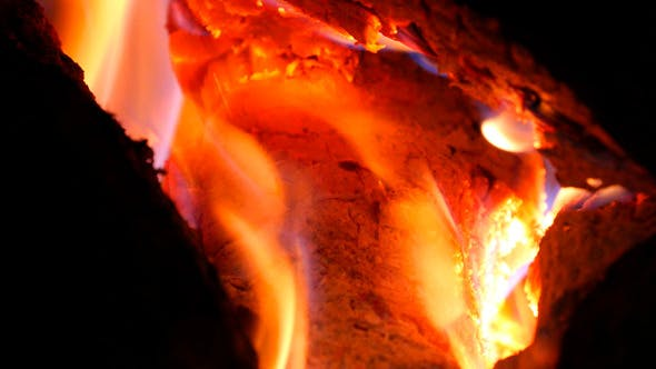 Thumbnail for Burning Fire Firewood And Coal In Stove