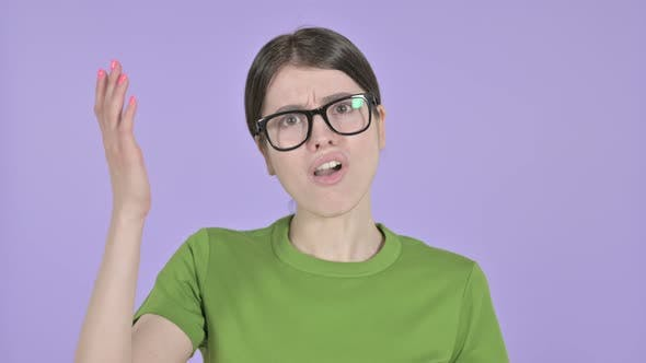 Upset Young Woman Get Disappointed on  Pink Background
